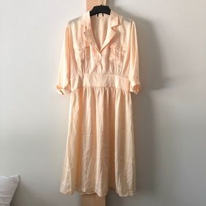Vintage Fitted Shirt Dress Pockets Yellow Gold q